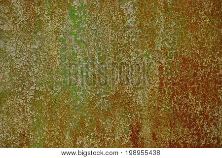 Texture of a fragment of a dirty colored rusty iron wall