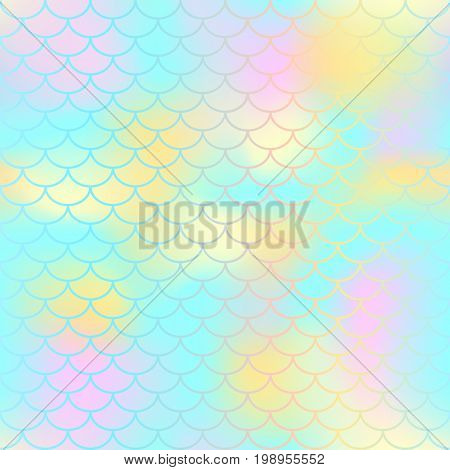 Fish scale texture vector pattern. Magic mermaid tail background. Colorful seamless pattern with fish scale net. Mint yellow mermaid skin surface. Mermaid seamless pattern swatch. Nursery background