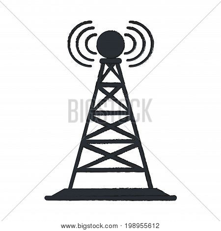 Colorful antenna tower doodle over white background vector illustration