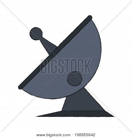 Colorful satellite antenna doodle over white background vector illustration