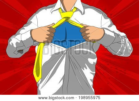 Pop art businessman acting like a super hero. Tearing his shirt off with space on his chest. Vector illustrated comic book style cartoon man.