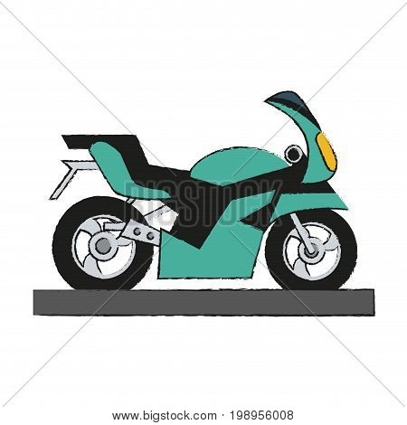 Colorful motorcycle doodle over white background vector illustration