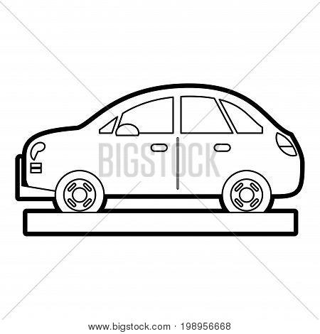 Flat line uncolored car over white background vector illustration
