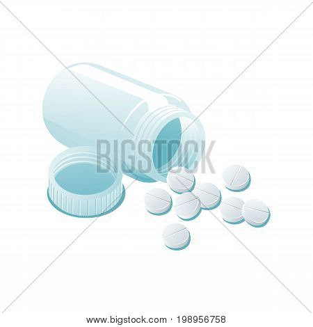 Vector plastic transparent empty bottle and pills flat cartoon illustration isolated on a white background. Cold and flu treatment concept, medicine and drugs. Cartoon illness therapy tools