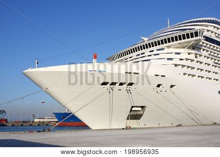 A huge cruise ship at the port quay