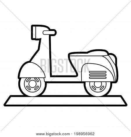 Flat line uncolored scooter motorcycle over white background vector illustration