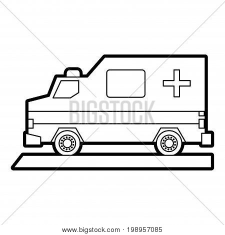 Flat line uncolored ambulance over white background vector illustration