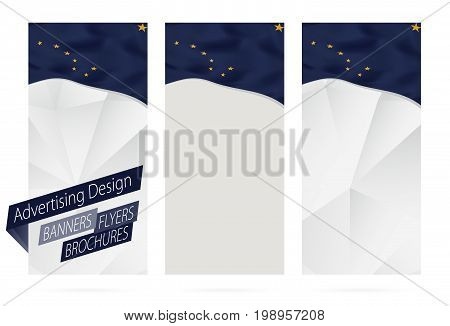 Design Of Banners, Flyers, Brochures With Alaska State Flag.