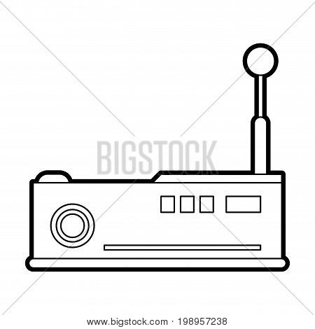 Flat line uncolored projector over white background vector illustration