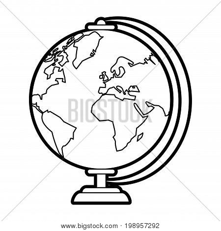Flat line uncolored globe over white background vector illustration