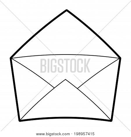 Flat line uncolored envelope over white background vector illustration