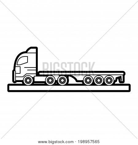 Flat line uncolored truck over white background vector illustration