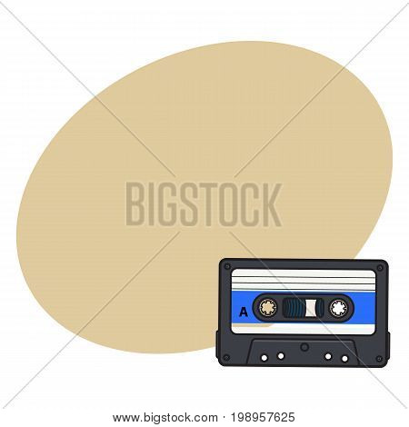 Old fashioned, retro audio cassette from 90s, sketch vector illustration with space for text. Front view of hand drawn audio cassette, tape with empty label sticker, retro object from 90s