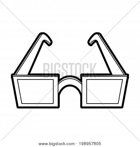 Flat line uncolored glasses over white background vector illustration