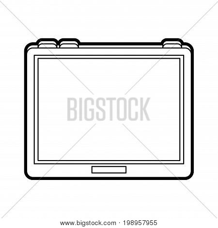 Flat line uncolored tablet over white background vector illustration