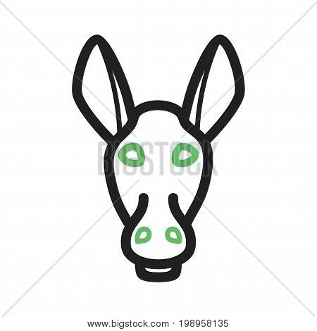 Face, donkey, animal icon vector image. Can also be used for Animals Faces. Suitable for mobile apps, web apps and print media.