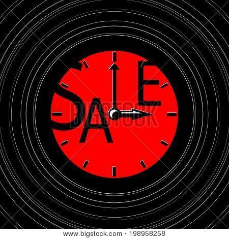 Sale inscription with clocks. Sales event square vector illustration. Retro clocks in vinyl. Black Friday advertisement. Seasonal discount banner template. Black and red sale print. Black Friday logo