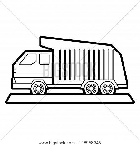Flat line uncolored garbage truck over white background vector illustration