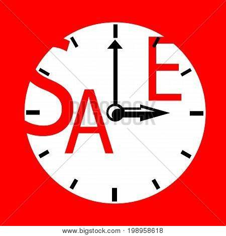 Sale inscription with clocks. Sales event square vector illustration. White red retro clocks with typography. Black Friday advertisement. Seasonal discount icon or banner template. Minimal sale print