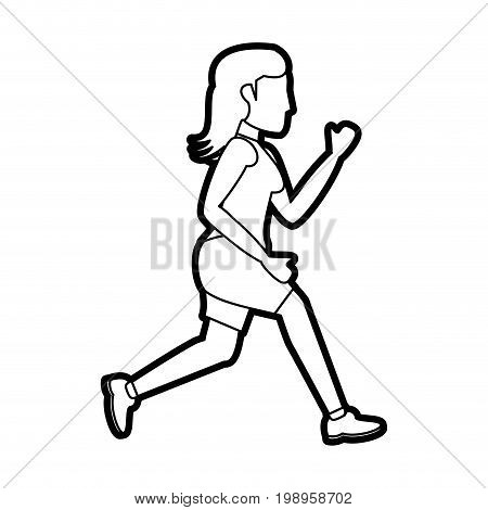 Flat line uncolored running woman over white background vector illustration