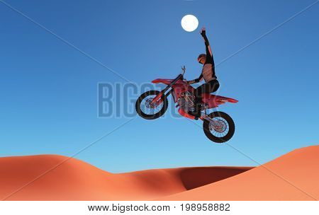 Silhouette of an athlete and a motorcycle in the sky.,3d render