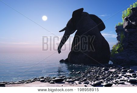 The elephant is sitting in the water.,3d render