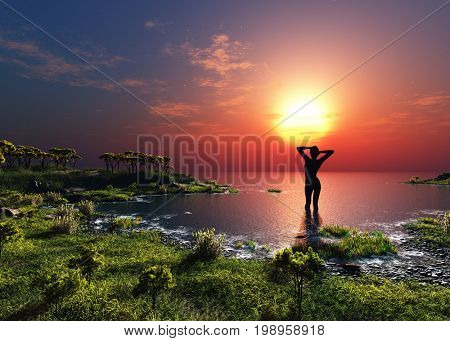 Silhouette the woman on a background of the sea,3d render