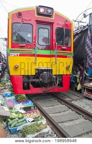 ASIA THAILAND BANGKOK MAEKLONG RAILWAY MARKET July 28 2017     The Maeklong Railway Market outside of the city of Bangkok in Thailand in Southeastasia. the umbrella pulldown market on the railway.