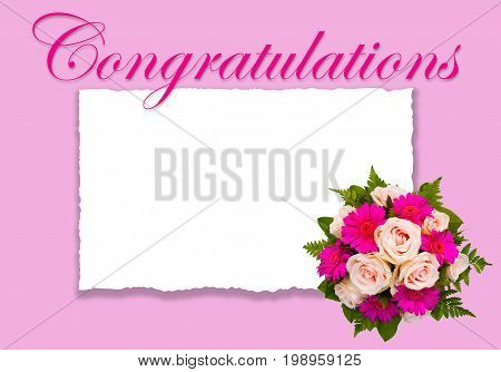 Romantic floral Congratulations card with flower bouquet beautiful pink roses and pink background and text copy space