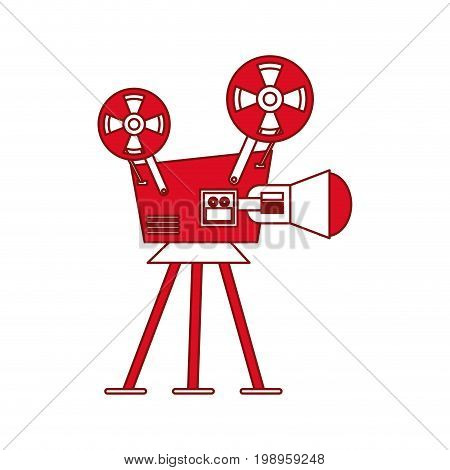 Flat line videocamera with hint of color over white background vector illustration