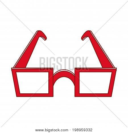 Flat line glasses with hint of color over white background vector illustration