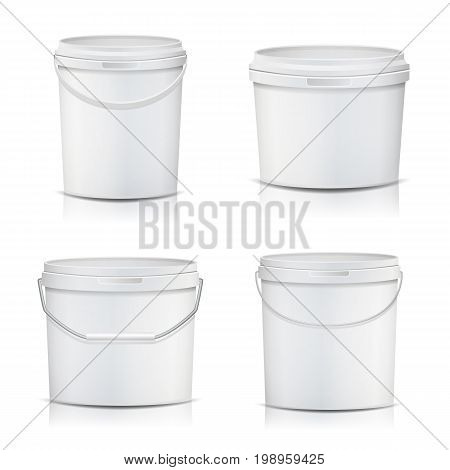 White Bucket Set Container Mock Up Vector. Product Packaging For Adhesives, Sealants, Primers, Putty. With Lid And Handle. Realistic Illustration