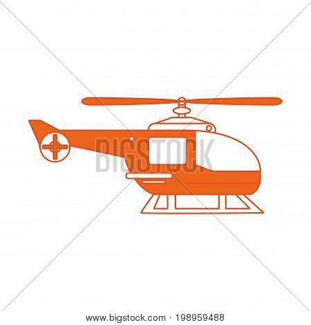 Flat line helicopter with hint of color over white background vector illustration