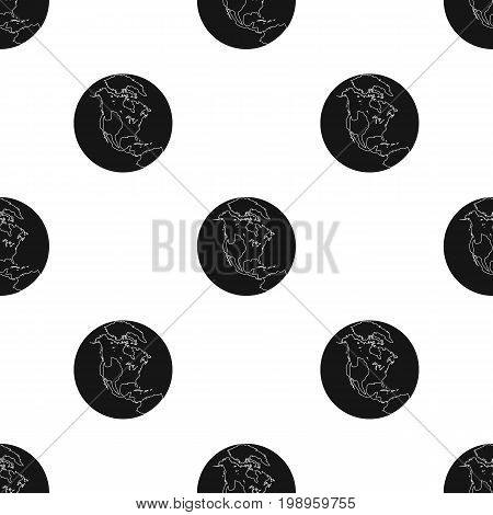 Earth icon in black design isolated on white background. Planets symbol stock vector illustration.