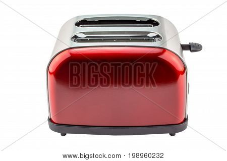 Bright red shiny retro toaster isolated on white