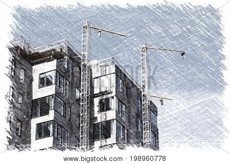Illustration of modern urban buildings under construction with a cranes and blue sky in sketch charcoal drawing