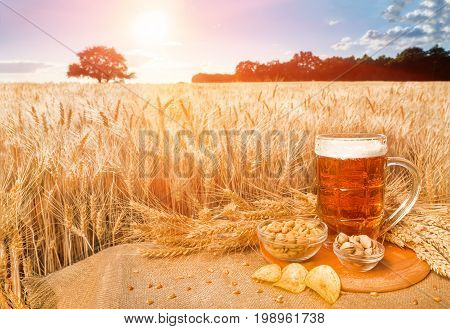 Beer and snacks on the background wheat field. A big glass of beer on the table against wheat field during red summer sunset. Light beer in glass and snacks with a summer landscape on the background.