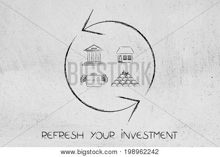 Refresh Symbol With Different Investment Icons