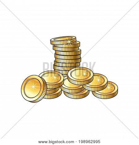 Stack and heap of shiny gold coins, sketch vector illustration isolated on white background. Realistic hand drawing of stack and heap of blank, unlabeled golden coins, investment money symbol