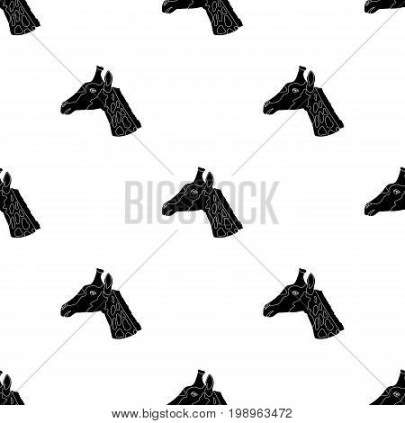 Giraffe icon in black design isolated on white background. Realistic animals symbol stock vector illustration.