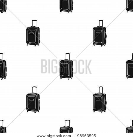 Travel luggage icon in black design isolated on white background. Rest and travel symbol stock vector illustration.