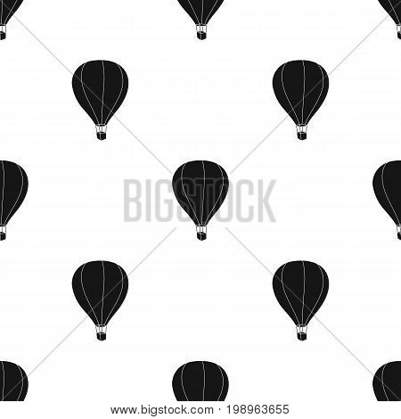 Airballoon icon in black design isolated on white background. Rest and travel symbol stock vector illustration.