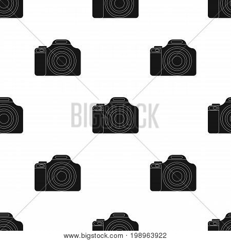 Digital camera icon in black design isolated on white background. Rest and travel symbol stock vector illustration.