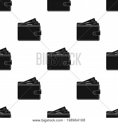 Wallet with cash icon in black design isolated on white background. Rest and travel symbol stock vector illustration.
