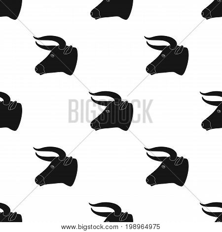 Head of bull icon in black design isolated on white background. Rodeo symbol stock vector illustration.
