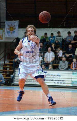 KAPOSVAR, HUNGARY - FEBRUARY 26: Joshua Wilson in action at a Hungarian National Championship basketball game Kaposvar vs Albacomp on February 26, 2011 in Kaposvar.