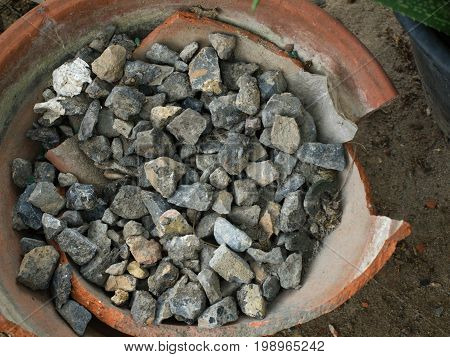 COLOR PHOTO OF CRUSHED STONE OR ANGULAR ROCK