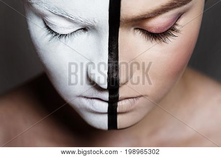 Young Beautiful Girl With Closed Eyes And Creative Bodyart On Half Of Face, Isolated On Grey