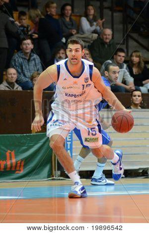 KAPOSVAR, HUNGARY - FEBRUARY 26: Daniel Werner in action at a Hungarian National Championship basketball game Kaposvar vs Albacomp on February 26, 2011 in Kaposvar.