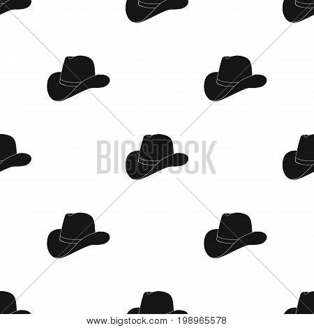 Cowboy hat icon in black design isolated on white background. Rodeo symbol stock vector illustration.